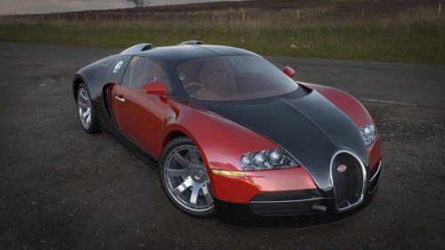 bugatti veyron 3d render using deserted moors at sunset spherical hdri map light probe image