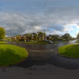 wet road in cloudy sunshine spherical hdri map