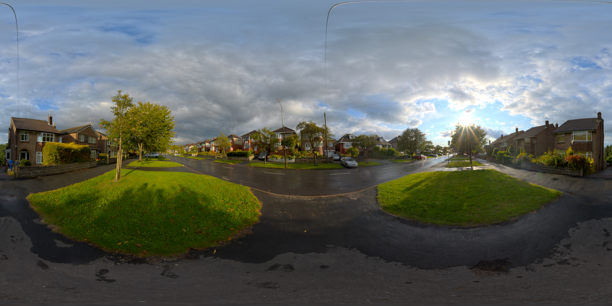Panocapture streetsunny wet road in cloudy sunshine spherical hdri map thecheapjerseys Image collections