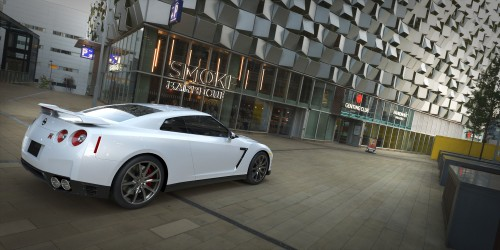 nissan gtr 3d render using spherical hdri mapin urban city at dusk