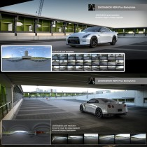 nissan gtr in modern urban city rooftop car park hdri map for 3d rendering