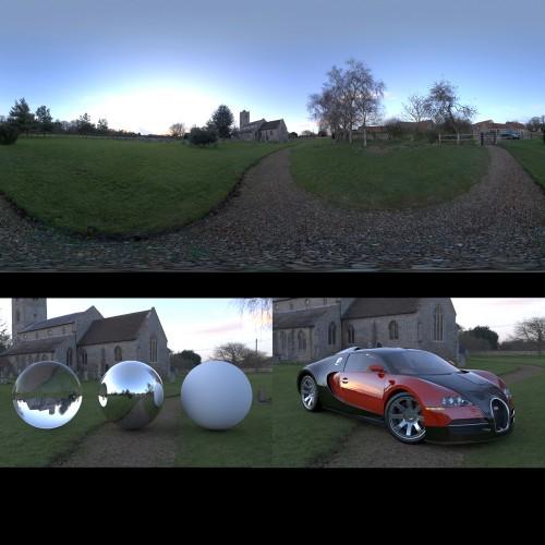 bugatti veyron in churchyard rendered with spherical hdri map light probe image