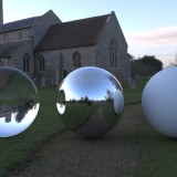churchyard rendered with spherical hdri map light probe image