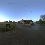 blue skies damp road spherical hdri map light probe image