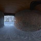 cobbled side street spherical hdri map for 3D rendering