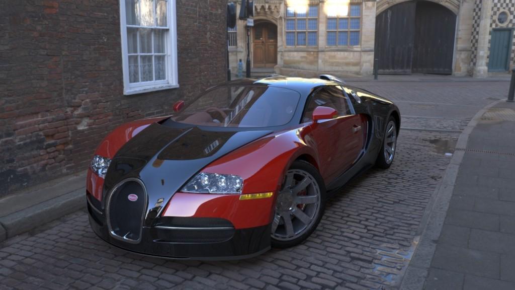 bugatti veyron 3D render on cobbled street hdri map