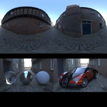 cobbled road side street spherical hdri map