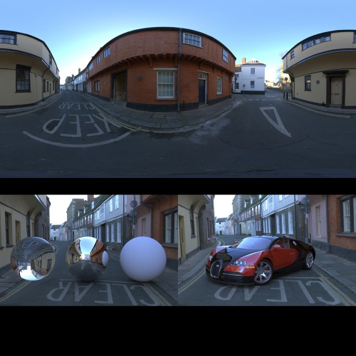 urban street road empty sunny day spherical hdri map for 3d rendering