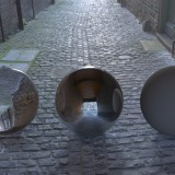 cobbled side street spherical hdri map for 3D rendering