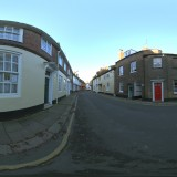 empty road with houses blue skies spherical hdri map