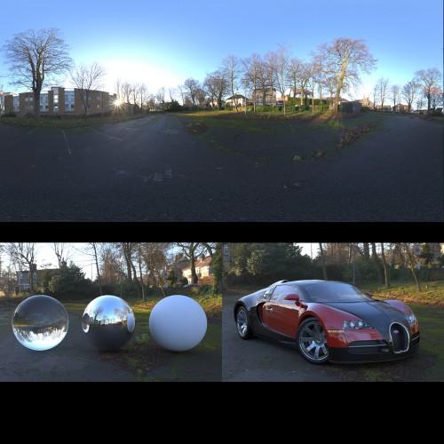 overgrown car park sunny day blue skies spherical hdri map