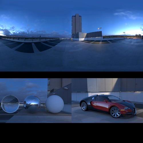 modern urban city car park roof at dusk sunset spherical hdri map