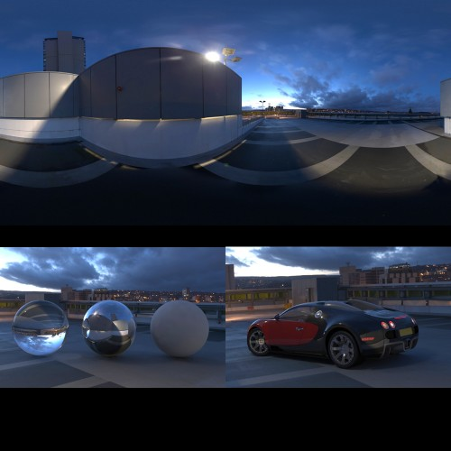 modern urban city car park roof at dusk sunset spherical hdri map