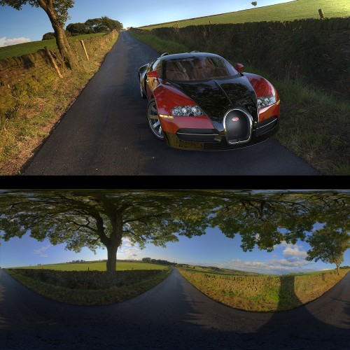 country road at sunset under tree spherical hdri map light probe image