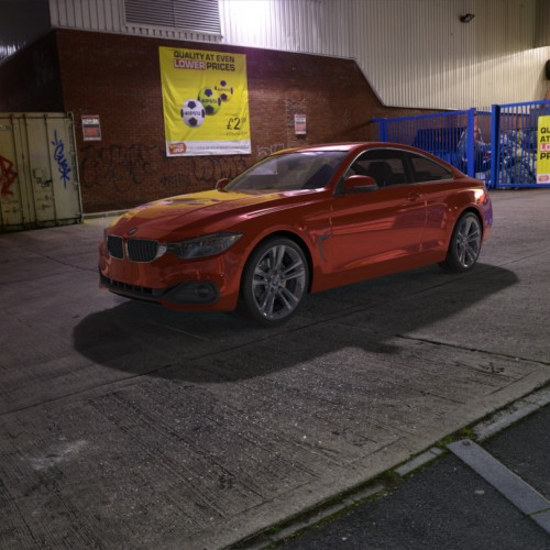 BMW 435i rendered using a spherical hdri map and backplate image