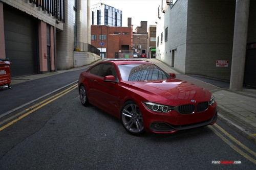 BMW rendered using city buildings spherical hdri and background plates
