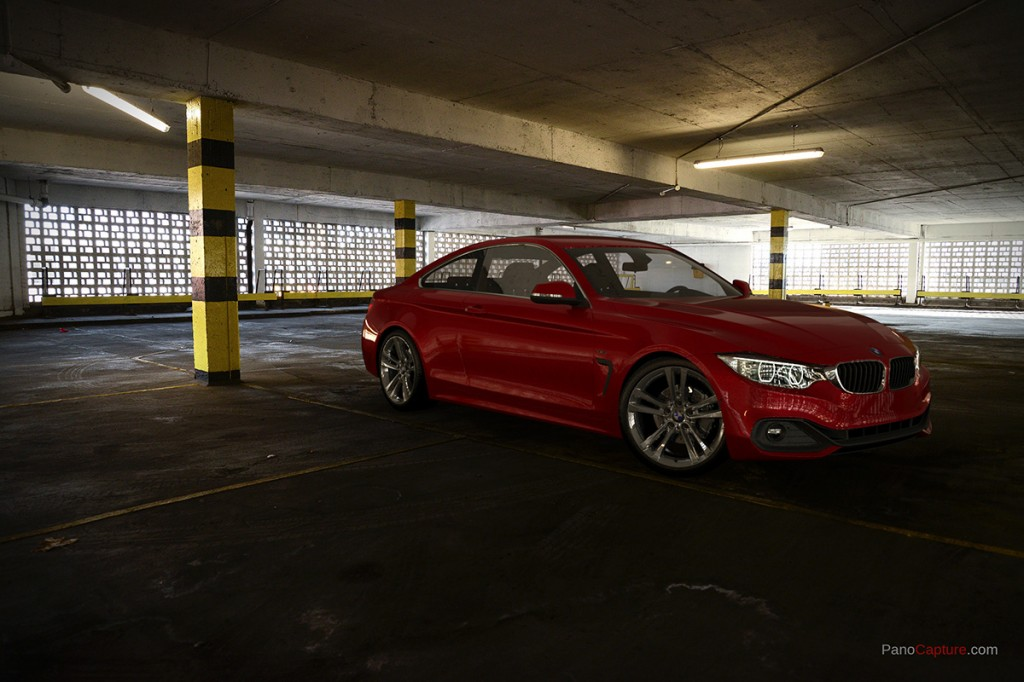 BMW 435 rendered using spherical HDRi and backplate