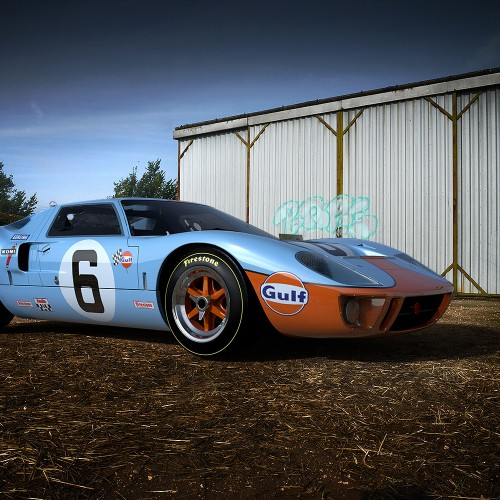 ford gt 40 rendered using farm outbuilding hdri map and backplate