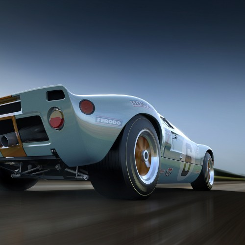 ford gt 40 rendered with hdri and background plate