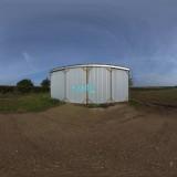 sunny blue sky hdri farm outbuilding