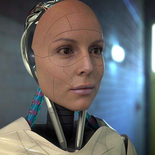 3d robotic character rendered using hdri map