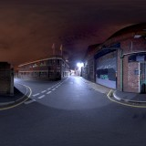 Urban street at night spherical hdri map for 3d rendering