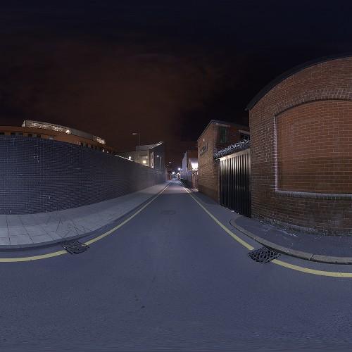 Urban Street Night HDRi with matching backplates